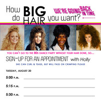 Big Banquet Hair Sign-Up Sheet