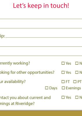 Recruitment Contact Card