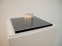 Cube on a striped surface, 1968