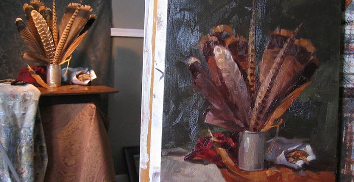 kate mueller art,feathers,painting