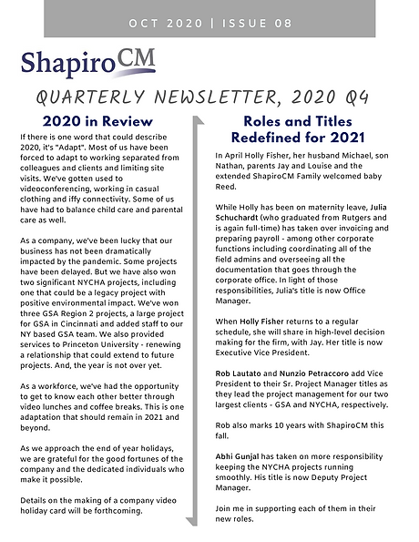 ShapiroCM oct 2020 newsletter page 1 pic