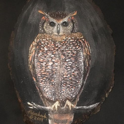 """Night Owl""_acrylic and glass gems on wo"