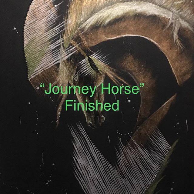 """Journey Horse""_36""X24""_acrylic, glitter"