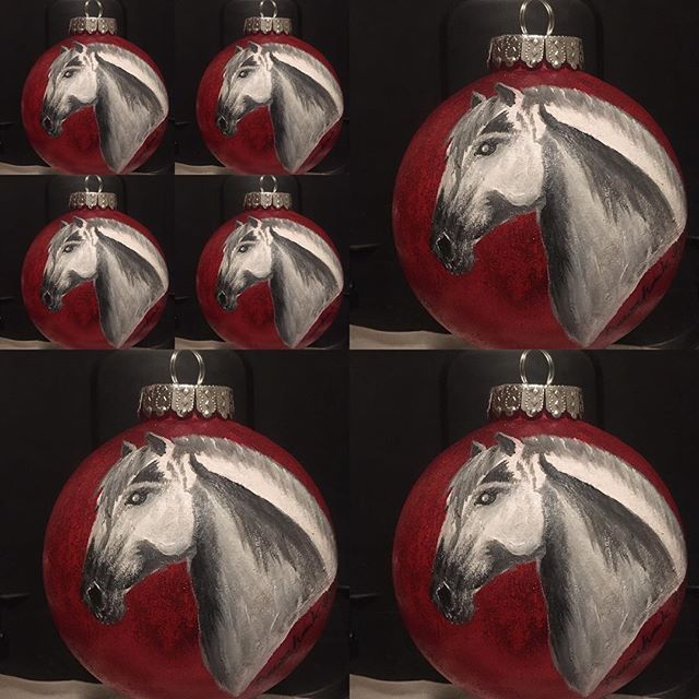 "Grey Horse Christmas _Large bulb 4""_$32."