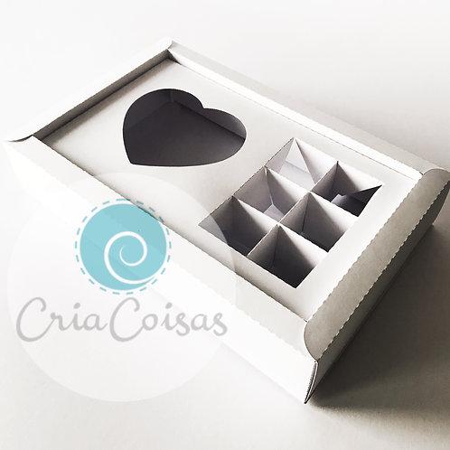 Caixa 6 doces + Coração Topo Acetato - Formato 250x160x50mm