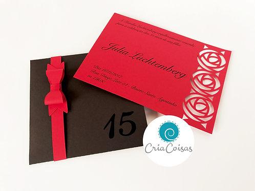 Convite com envelope para Festa de 15 Anos