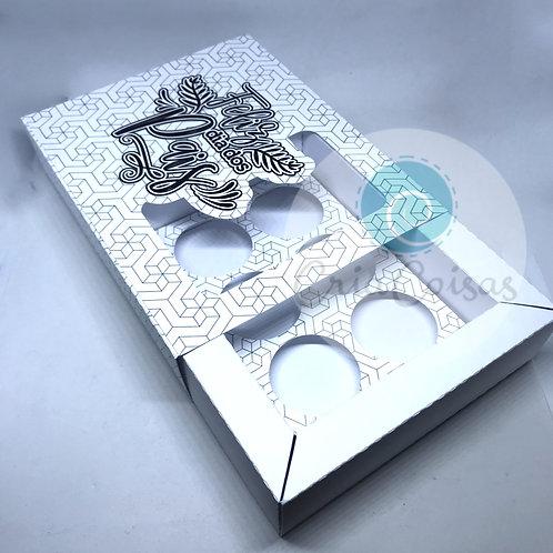 Caixa com Borda, Luva e berço para 6 doces (14,5x11,5x3,5cm)