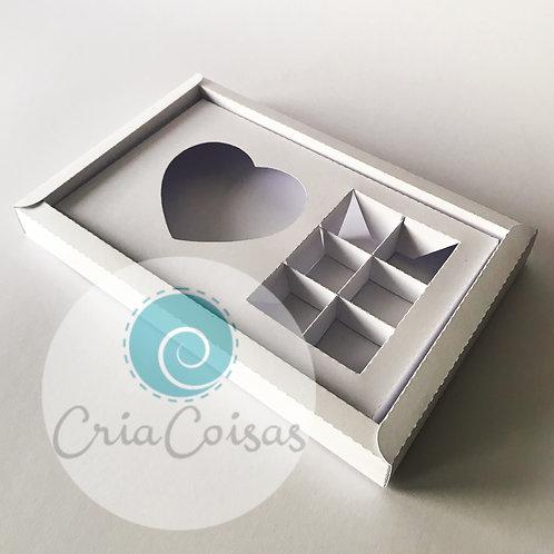 Caixa 6 doces + Coração Topo Acetato - Formato 250x160x25mm