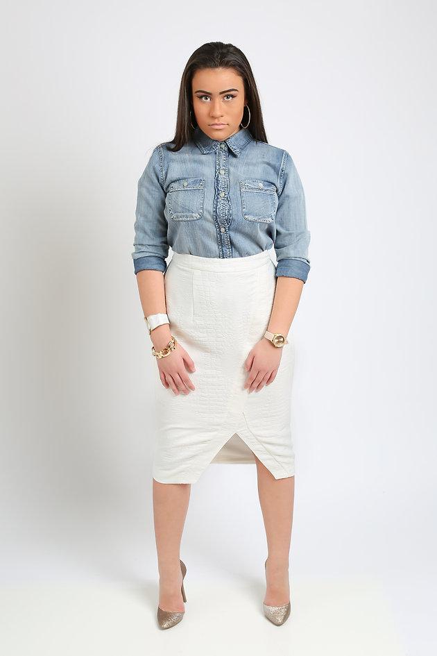 e8a266bf6 Juniors' Mudd® Button Down Top + Jennifer Lopez Snakeskin Pencil Skirt +  Candie's® Women's Dress Heels