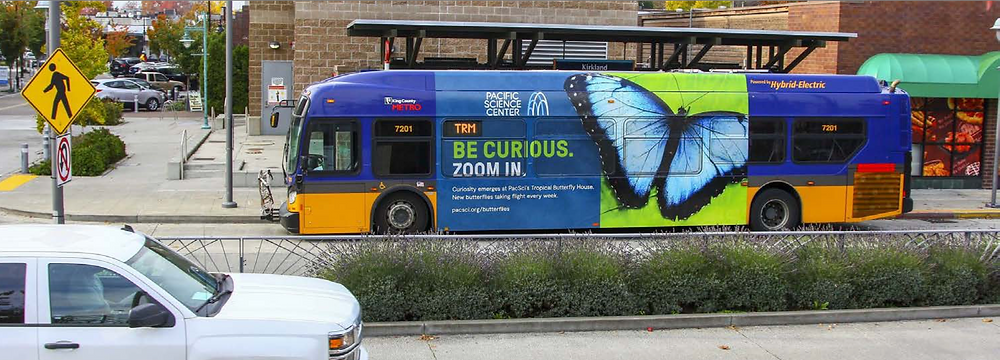 """Be Curious: Zoom In"" bus ad"