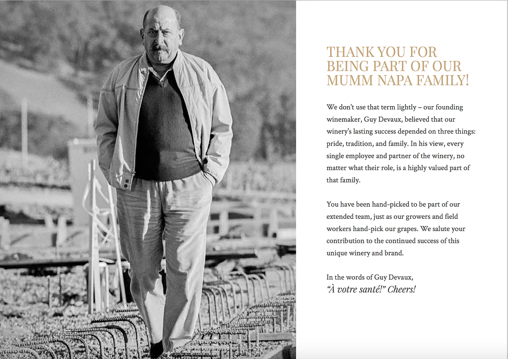 Intro page, Mumm Napa brand guidelines