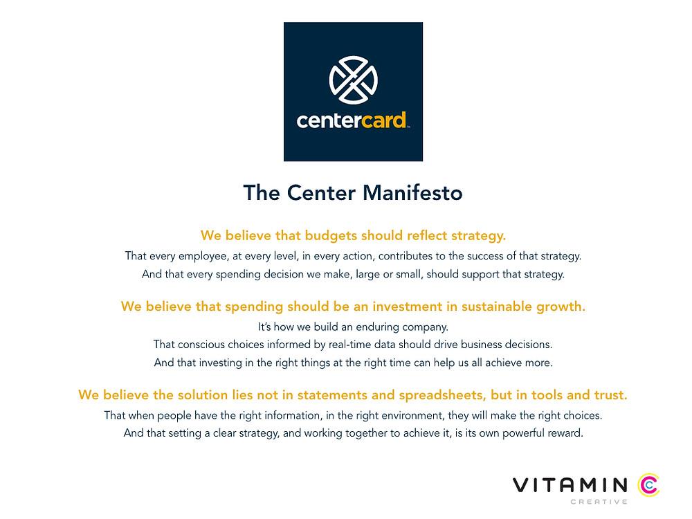 CenterCard manifesto by Vitamin C Creative