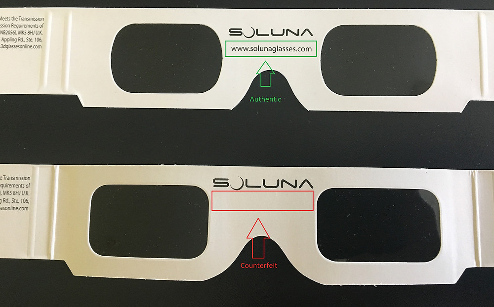 Soluna: How to distinguish real eclipse glasses from counterfeit ones