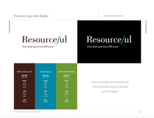 Page from Resourceful Brand Standards illustrating.  logo and. color  palette