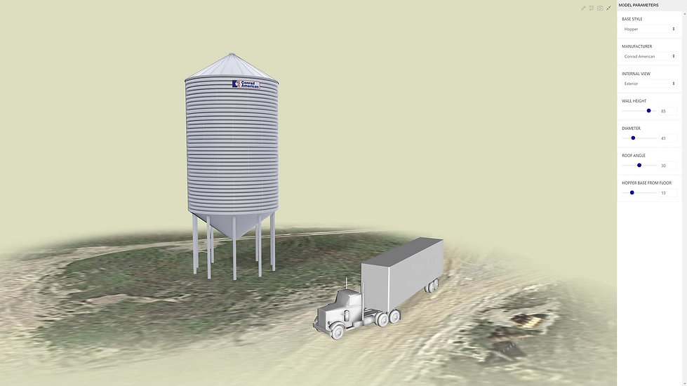Screen Capture showing grain silo 3D model configurator interaction