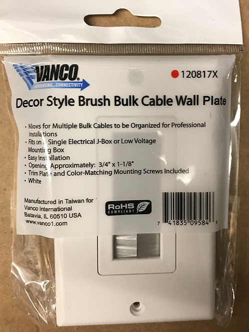 Vanco Decorative Style Brush Bulk Cable WallPlate, White – PN: 120817X