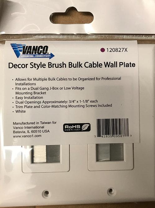 Vanco Decorative Style Brush Bulk Cable Wallplate, White – PN: 120827X