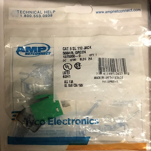 AMP NetConnect CAT6 SL110 Series Modular Jack,Green – PN: 1375055-9