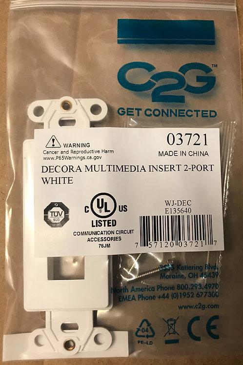 CablestoGo Decorative Multimedia Insert 2-Port, White – PN: 03721