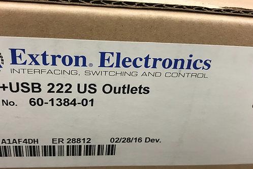 Extron AC+USB 222 US Outlets, PN: 60-1384-01