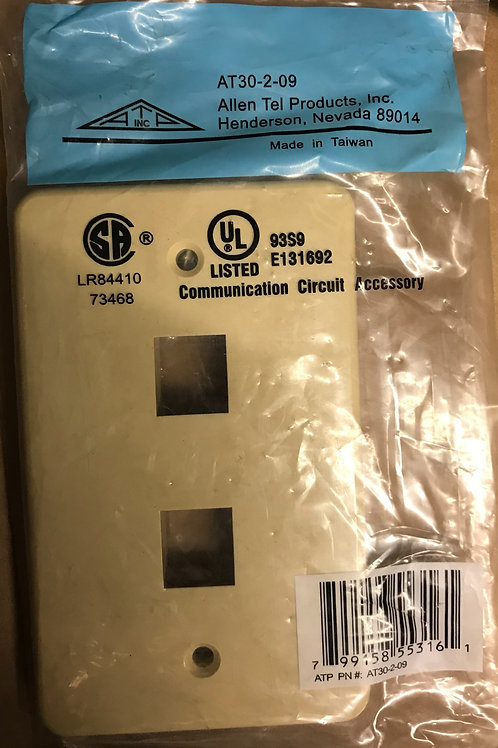 AllenTel AT30-2-09 2-Port Versatap Faceplate, Ivory