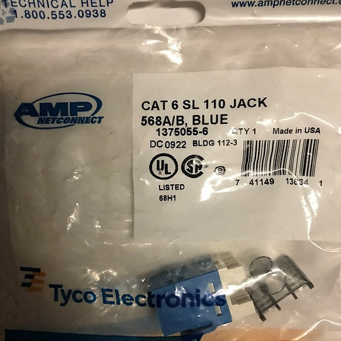 AMP NetConnect CAT6 SL110 Series Modular Jack, Blue – PN: 1375055-6