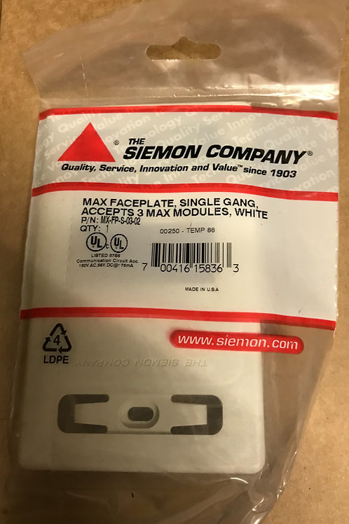 Siemon Max Single Gang Faceplate, 3 Port, White – PN: MX-FP-S-03-02