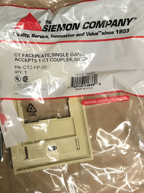 Siemon CT Faceplate, Single Gang, 1 Coupler, Ivory – PN: CT2-FP-20