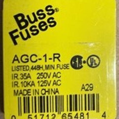 """Buss Fuses Fuse, Cartridge, Fast Acting, 1 A, 250 V, 6.3mm x 32mm, 1/4"""" x 1-1/4"""""""