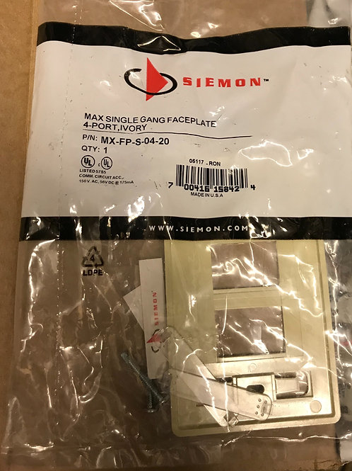 Siemon Max Single Gang Faceplate, 4 Port, Ivory – PN: MX-FP-S-04-20