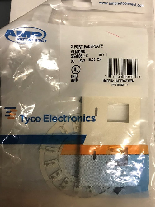 AMP NetConnect 2-Port, Flush Mount, Flex-Mode Faceplate, Almond – PN: 558106-2 *