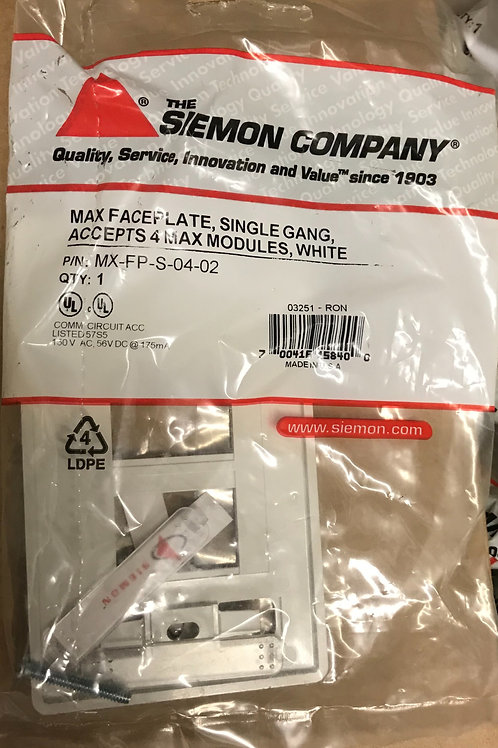 Siemon Max Single Gang Faceplate, 4 Port, White – PN: MX-FP-S-04-02