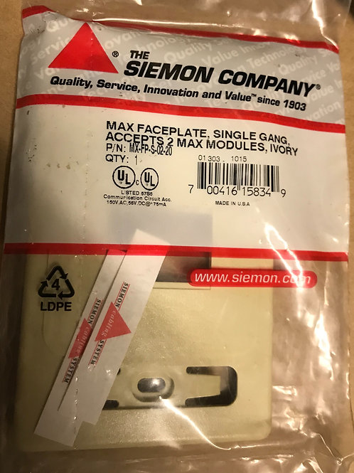 Siemon MAX Faceplate, Single Gang, 2 openings, Ivory – PN: MX-FP-S-02-20