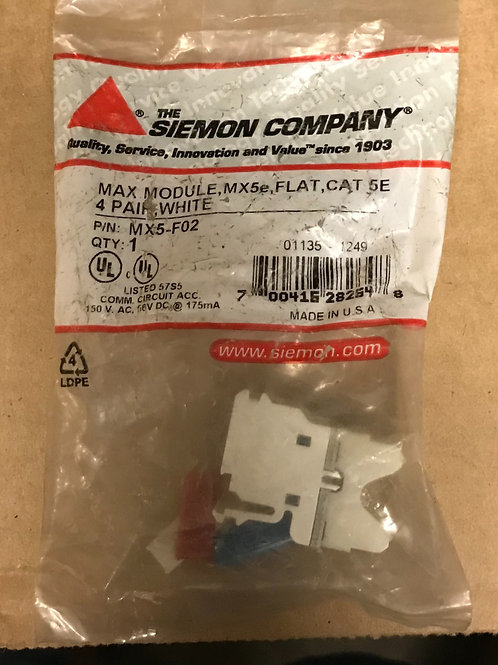 Siemon Max Module, CAT 5e, Flat, White Outlet – PN: MX5-F02