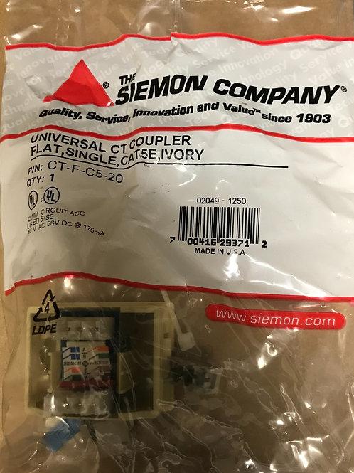 Siemon Universal CAT 5e CT Coupler, Flat, Single Port, Ivory – PN: CT-F-C5-20