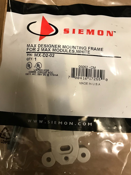 Siemon Max Designer Mounting Frame, 2 port, White – PN: MX-D2-02