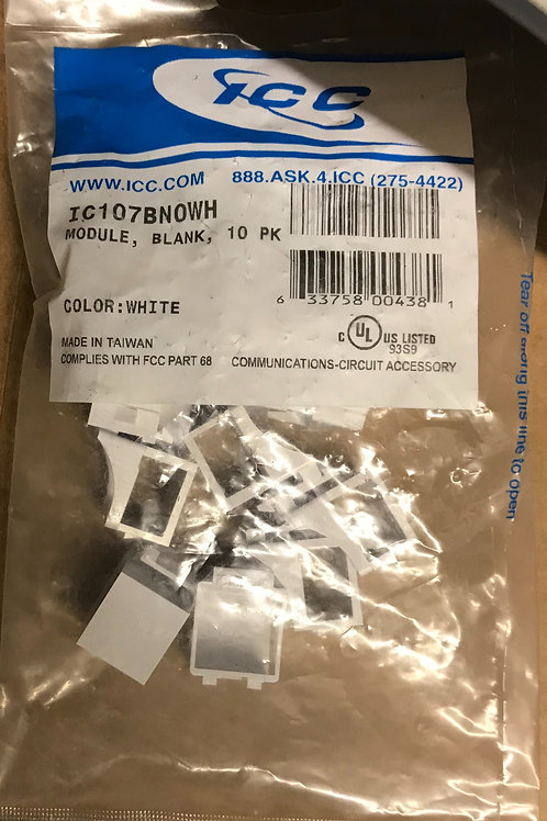 ICC IC107BN0WH Modular Keystone Blank Inserts, White, 10 pack