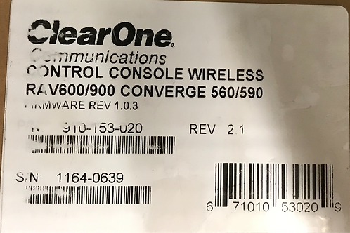 ClearOne Communications Control Console Wireless RAV600/900 Converge 560/590, PN