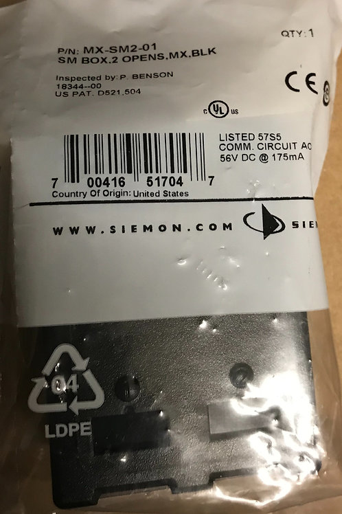 Siemon Surface Mount Box, 2 Openings, MX, Black – PN: MX-SM2-01