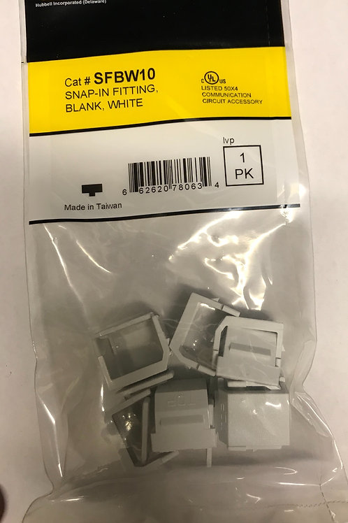 Hubbell SnapIn Fitting, Blank, White 10pk – PN: SFBW10