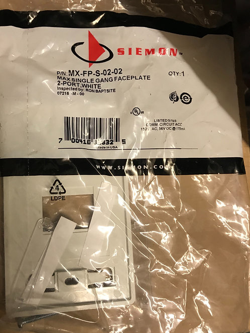 Siemon Max Faceplate, Single Gang, 2 Ports, White – PN: MX-FP-S-02-02
