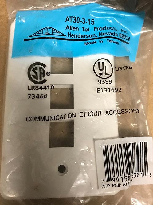 AllenTel AT30-3-15 Versatap Faceplate, Single Gang, 3-Port, White