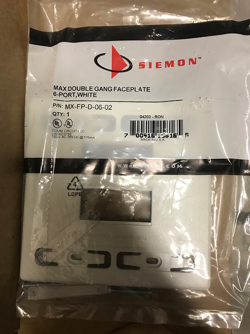 Siemon Max Double Gang Faceplate, 6 port- White – PN: MX-FP-D-06-02