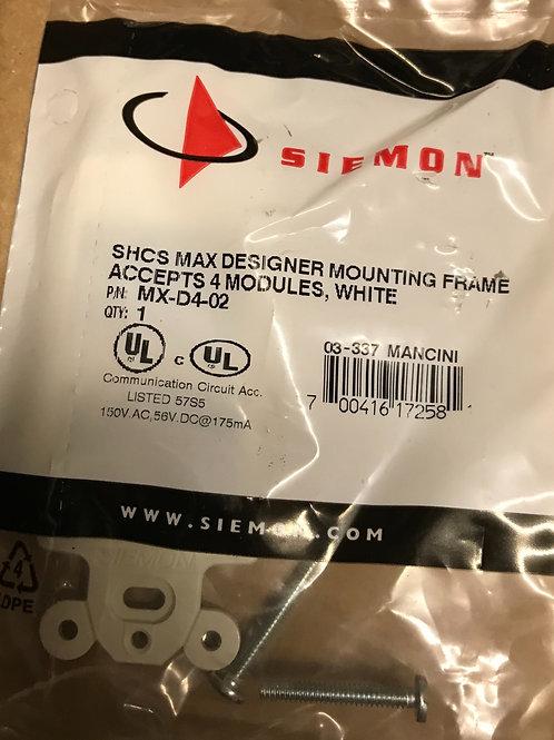 Siemon SHCS Max Designer Mounting Frame, 4 Port, White – PN: MX-D4-02