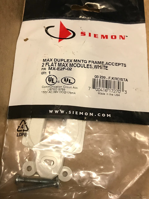 Siemon Max Duplex Mounting Frame, 2 port, White – PN: MX-E2F-02