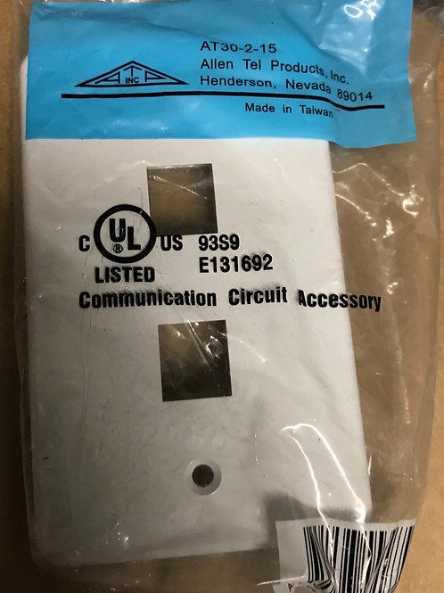 AllenTel AT30-2-15 Versatap Faceplate, Single-Gang, 2-Port, White