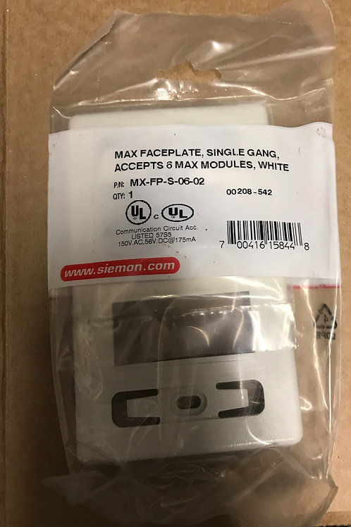 Siemon Max Single Gang Faceplate, 6 port, White – PN: MX-FP-S-06-02