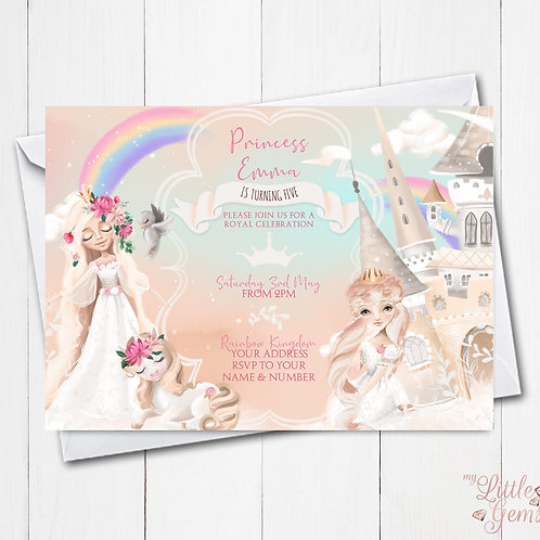 Rainbow Princess Invitation