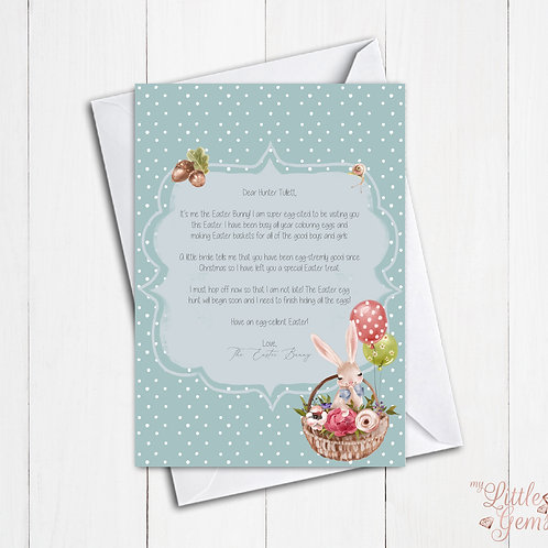 Boy Blue Easter Bunny Letter &Certificate