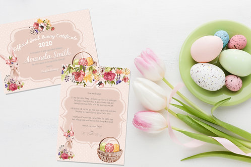 Pretty Easter Bunny Letter & Certificate